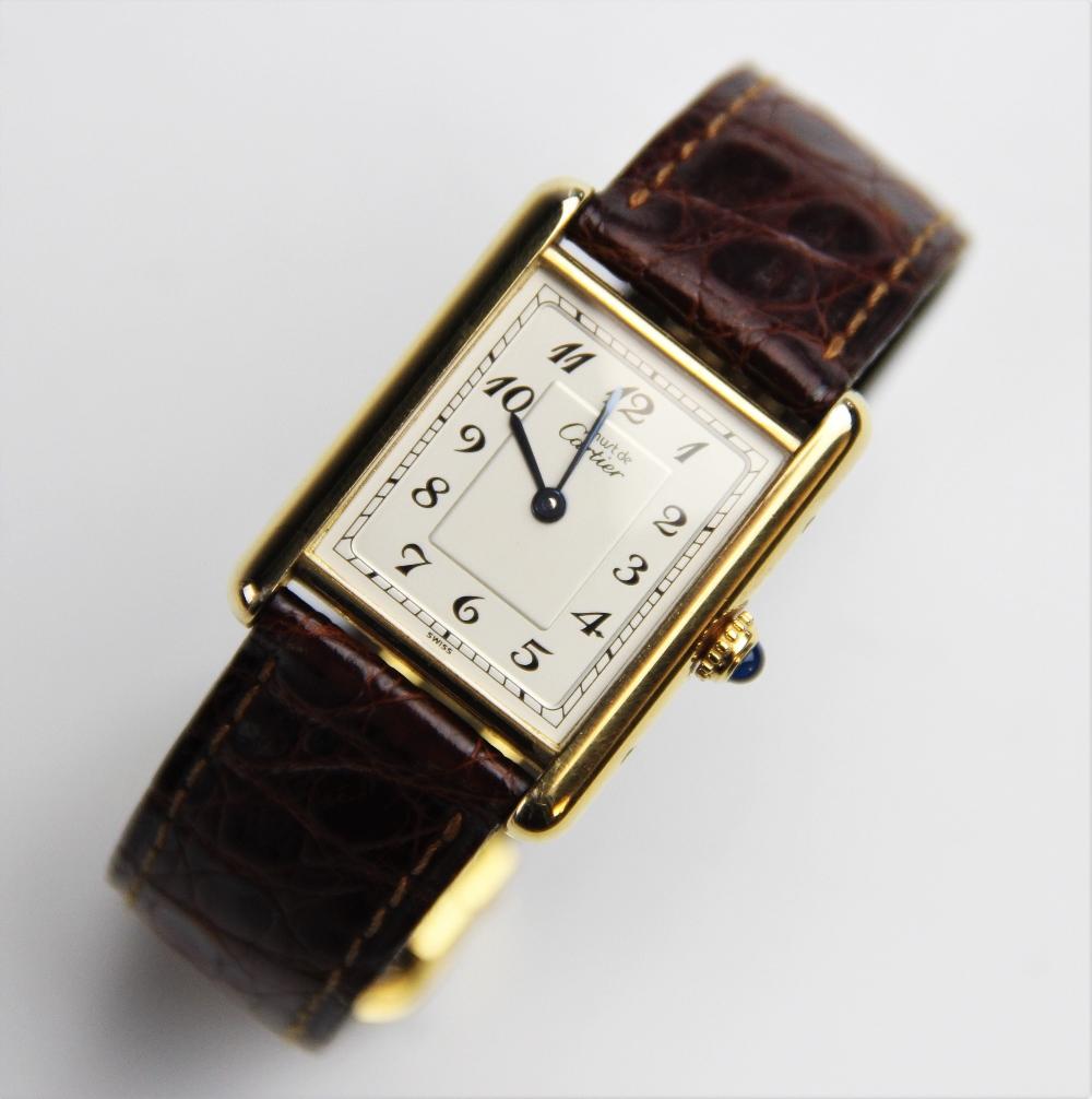 A ladies Must de Cartier silver gilt Tank Vermeil wristwatch, the rectangular cream dial with Arabic - Image 4 of 8