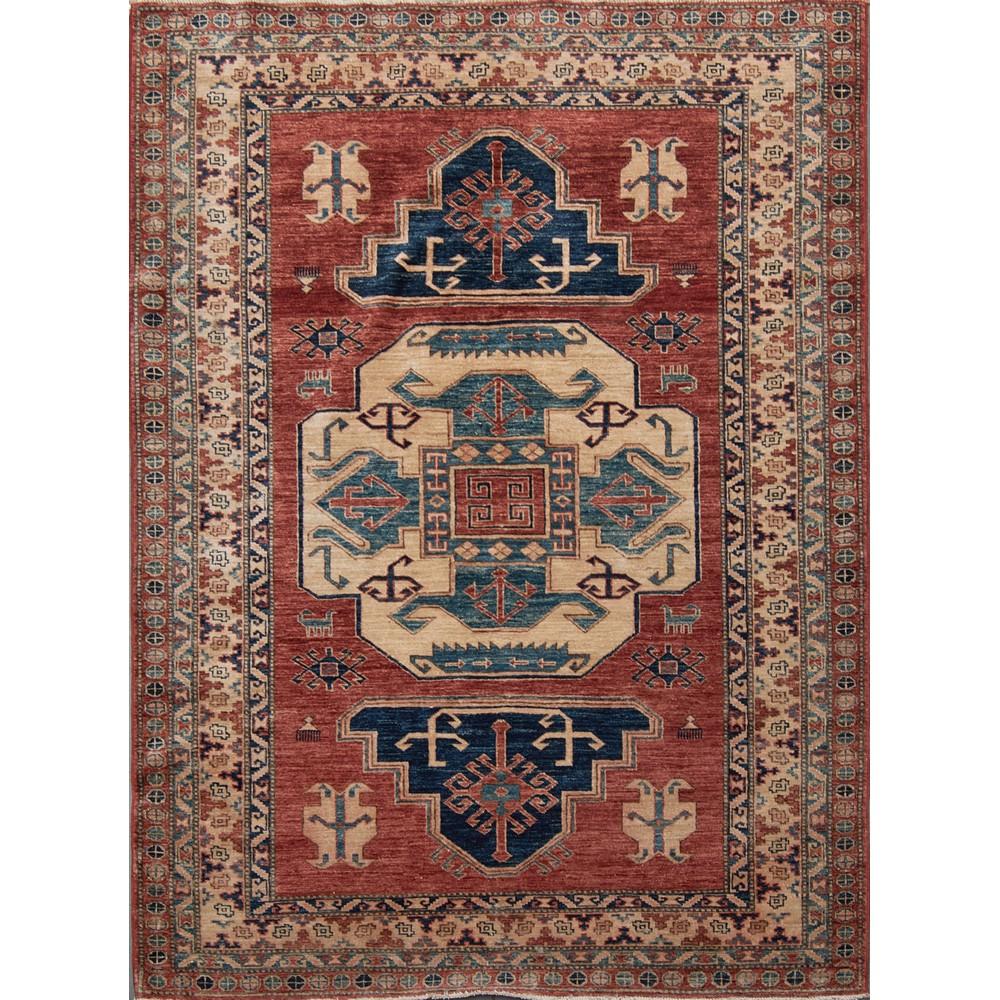 TAPPETO Kazak, trama e ordito in cotone, vello in lana. Uzbekistan XX secolo Misure: cm 226 x 169