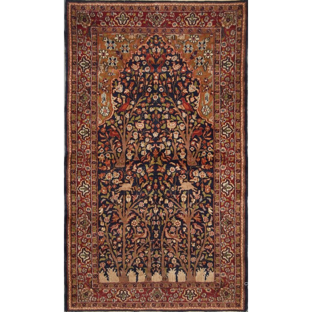 Lot 66 - TAPPETO Agra, trama e ordito in cotone, vello in lana. India XX secolo Misure: cm 161 x 93