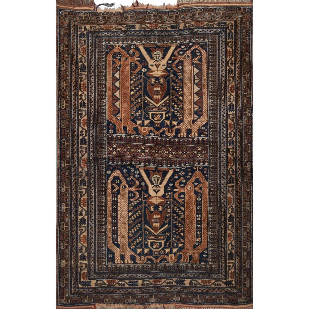 Lot 2 - DUE TAPPETI Doulatabad, trama ordito e vello in lana. Persia XX secolo Misure: cm 143 x 90 - 141 x