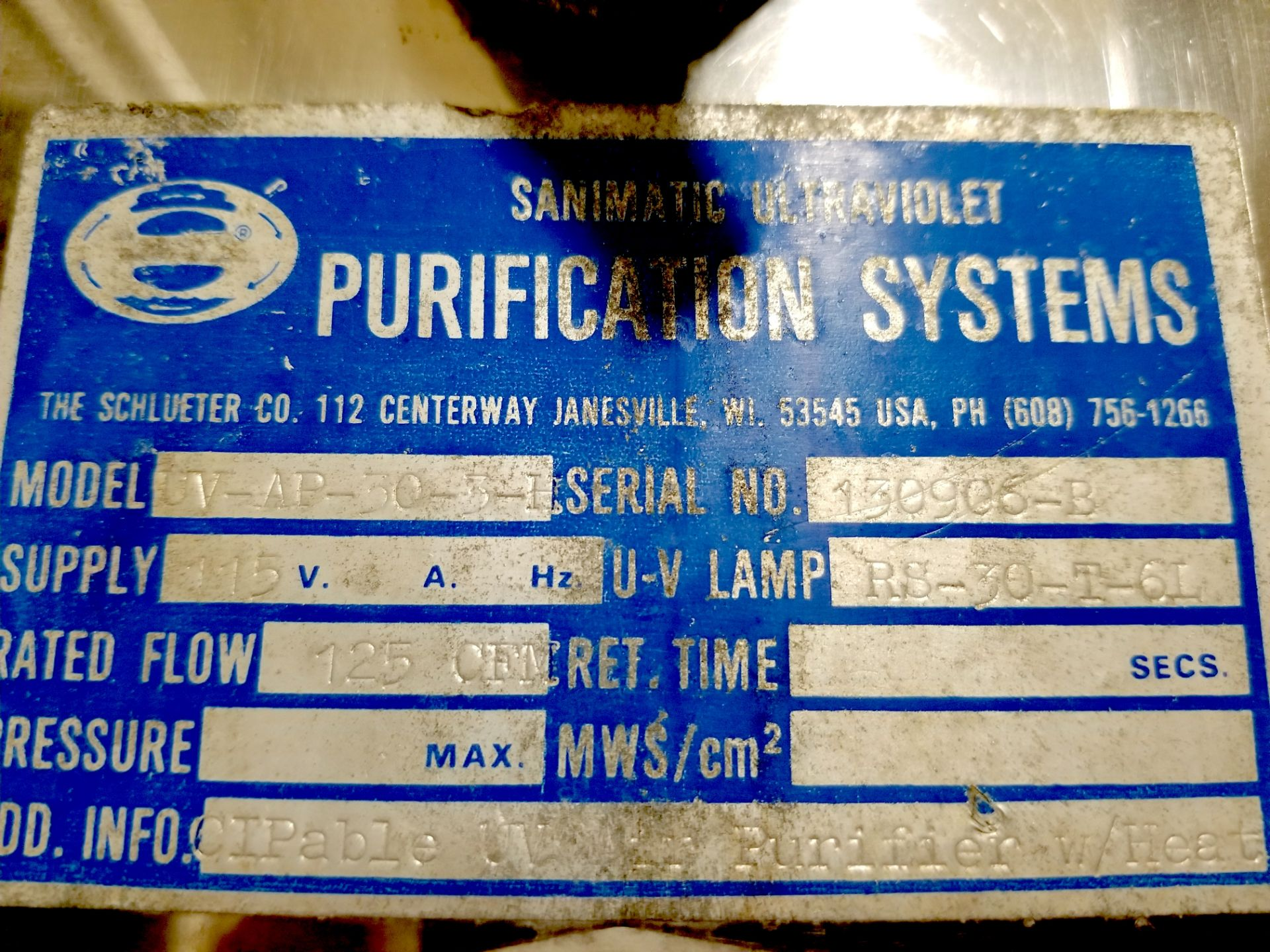 Sani-matic Ultraviolet Purification System - Image 2 of 4