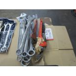 LOT - LARGE ADJUSTABLE WRENCH, CHAIN AND PIPE WRENCHES AND LARGE COMBINATION WRENCHES