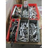 LOT - (6) BINS OF SOCKETS AND MISC HAND TOOLS, WRENCHES, ETC.