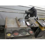 """LOT - 14"""" INDUSTRIAL CUT OFF SAW, W/ BENCH AND EXTRA BLADES"""