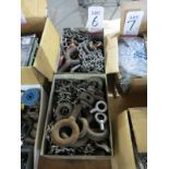 LOT - (2) BOXES OF LIFTING EYES, CHAIN, ETC.