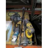 """LOT - MISC PNEUMATIC AND ELECTRIC POWER TOOLS, TO INCLUDE: 1/2"""" DRILL MOTOR, DEWALT 18V CORDLESS"""