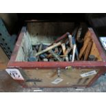 LOT - WOOD CRATE OF MISC HAMMERS