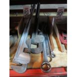 LOT - ALUMINUM PIPE WRENCHES, LARGE COMBINATION WRENCHES