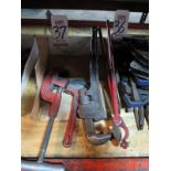 LOT - RIDGID NO. 2A/202 PIPE CUTTER, PIPE WRENCHES, DRUM OPENER
