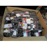 LOT - LARGE BOX OF NEW V BELTS/DRIVE BELTS, VARIOUS SIZES