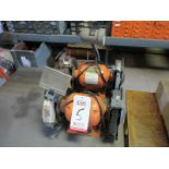 """LOT - (2) CENTRAL MACHINERY 8"""" DOUBLE-END BENCH GRINDERS, 3/4 HP, SINGLE PHASE, 3450 RPM"""