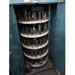 LOT - LARGE QUANTITY OF PUNCH PRESS TOOLING, ARRANGED IN 5-SHELF CAROUSEL INSIDE A 2-DOOR STORAGE