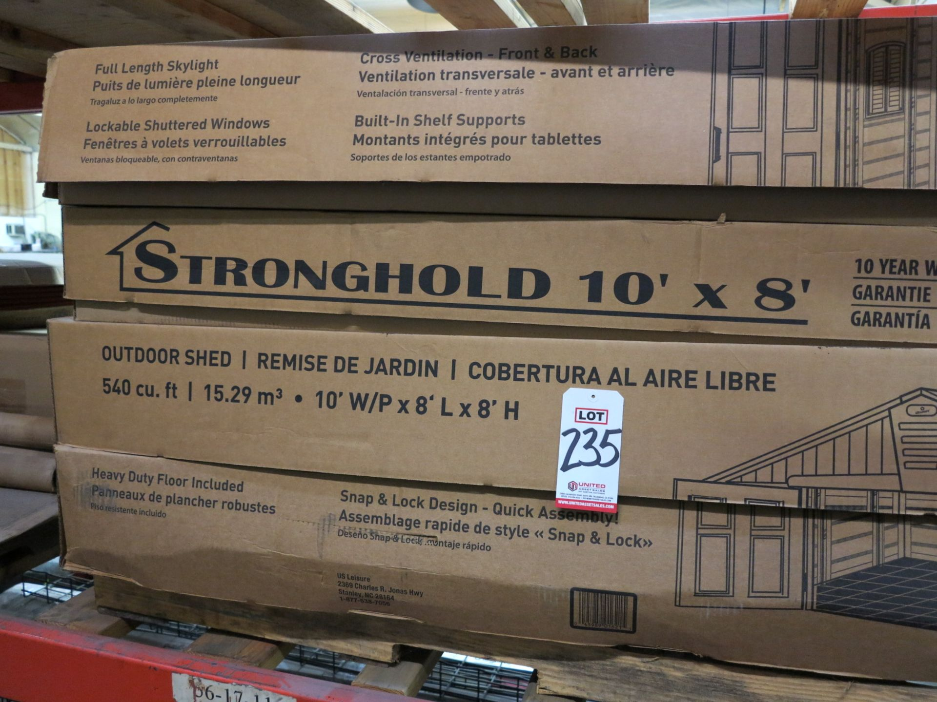 """Lot 235 - LOT - U.S. LEISURE STRONGHOLD 10' X 8' PLASTIC OUTDOOR SHED, UNASSEMBLED IN (4) 75"""" X 34"""" X 8"""""""