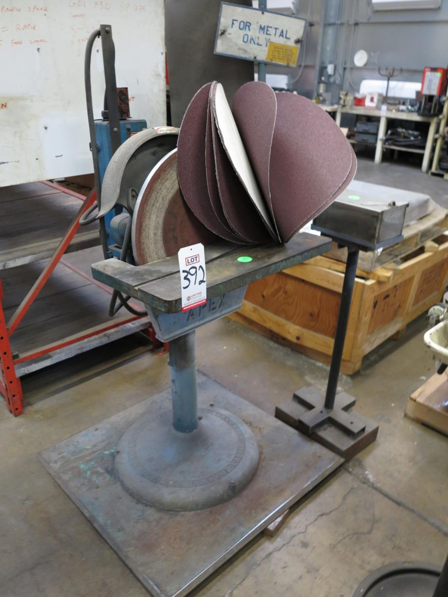 """Lot 392 - RANKIN BROS 20"""" DISC GRINDER, W/ ADHESIVE-BACKED GRINDING DISCS"""