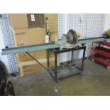 """DEWALT 12"""" COMPOUND MITER SAW, MODEL DW705, W/ CART AND MATERIAL INFEED/OUTFEED TABLES"""