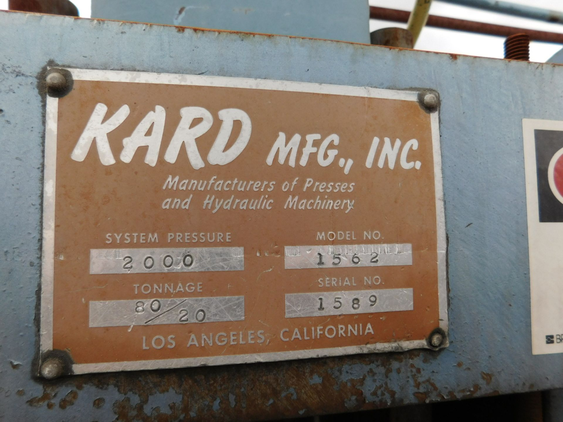 """Lot 516A - KARD TRANSFER MOLDING PRESS, MODEL 1562, ONE OPENING, SYSTEM PRESSURE: 2,000, TONNAGE: 80/20, 18"""""""