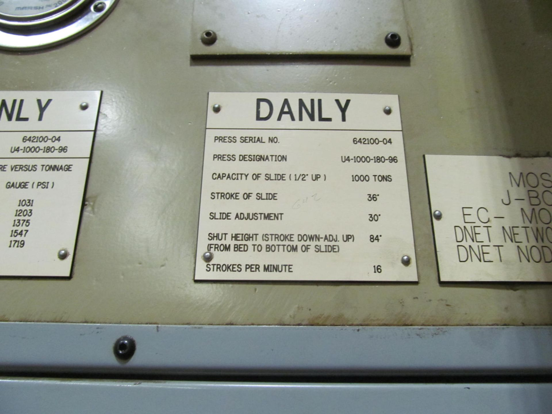 """Lot 3 - DANLY U4-1000-180-96 STRAIGHT SIDE PRESS, S/N 642100-04, 1000 TON CAPACITY, 180"""" X 96"""" BED, 36"""""""