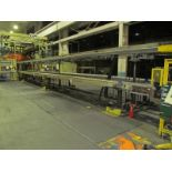 """86"""" X 80' ADJUSTABLE EXIT CONVEYOR, (2) 18"""" WIDE SECTIONS, (1) 12"""" WIDE SECTION, ADJUSTABLE TO"""