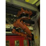 7-AXIS KUKA UNLOADING ROBOT w/ CONTROL & TEACH PAD MOUNTED ON OVERHEAD LINEAR RAIL, *PLEASE NOTE: