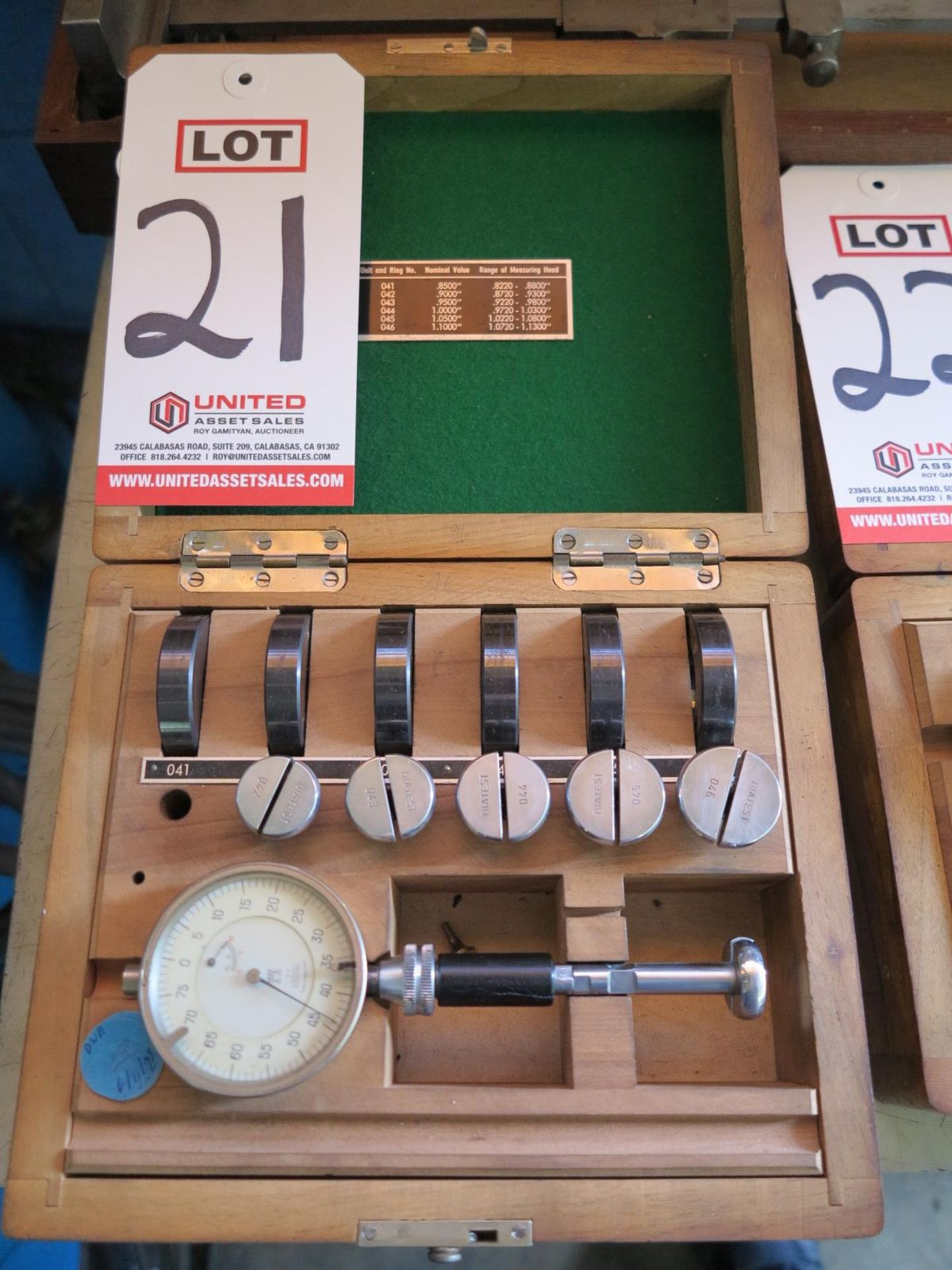 "DIATEST SPLIT BALL DIAL BORE GAGE SET, .822"" TO 1.130"""