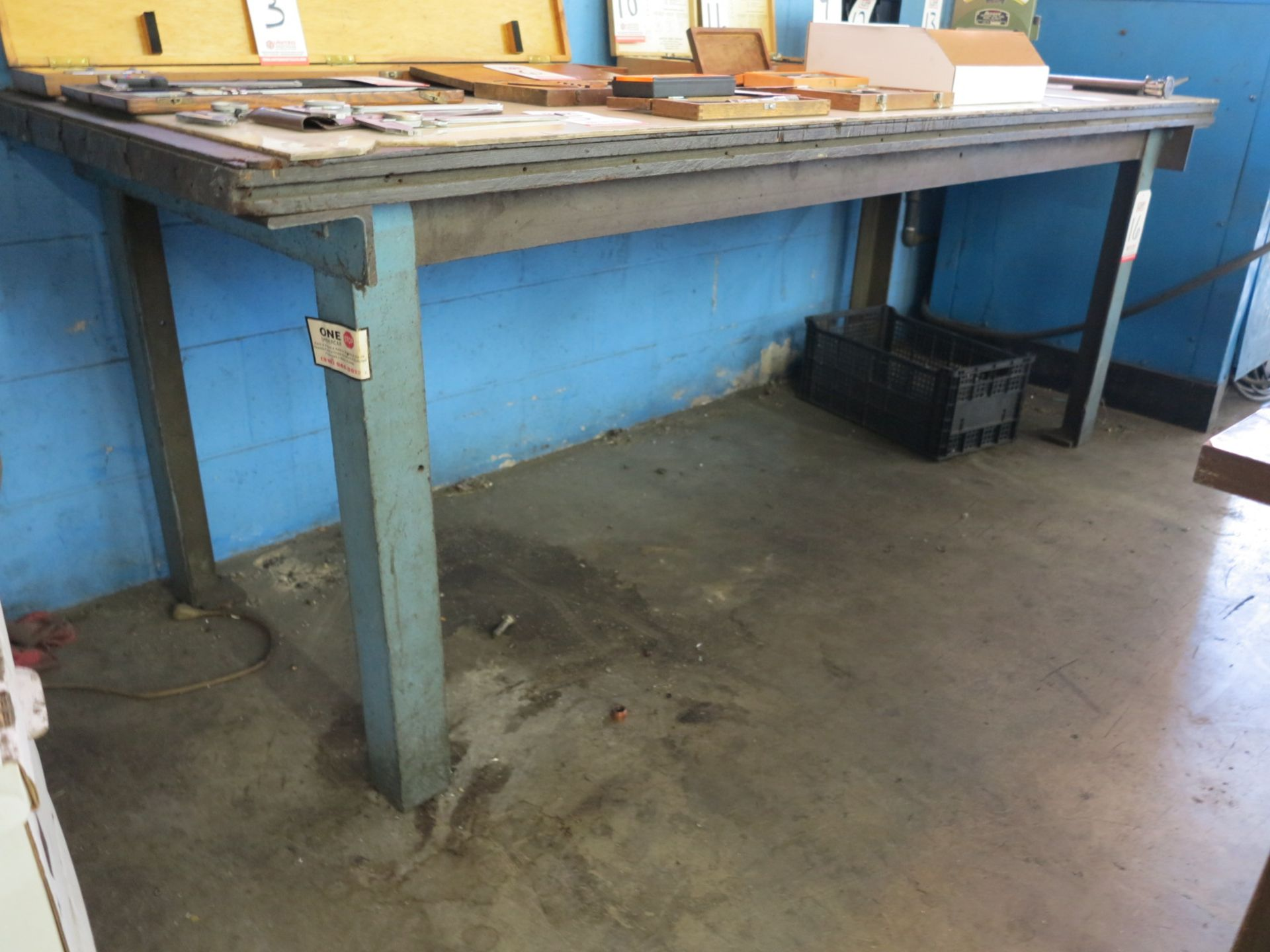 "Lot 16 - STEEL FRAMED TABLE W/ 89"" X 34"" WOOD TOP"