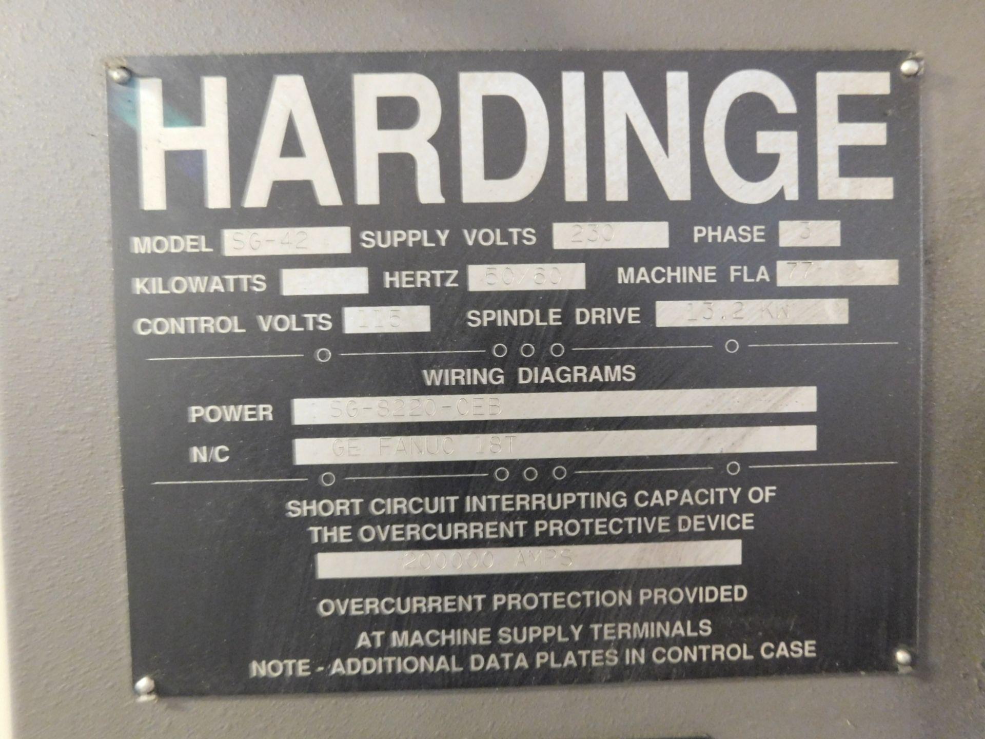 HARDINGE CONQUEST T-42 CNC LATHE, MODEL SG42, FANUC 18-T CNC CONTROL, 12-STATION TURRET, - Image 9 of 27