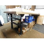 """BUTCHERBLOCK WORKBENCH, ADJUSTABLE HEIGHT, W/ 8' X 3' X 2-1/4"""" THICK TOP, CONTENTS NOT INCLUDED"""
