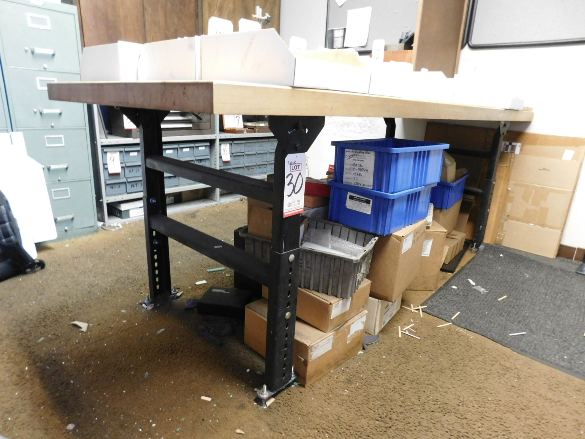 """Lot 30 - BUTCHERBLOCK WORKBENCH, ADJUSTABLE HEIGHT, W/ 8' X 3' X 2-1/4"""" THICK TOP, CONTENTS NOT INCLUDED"""