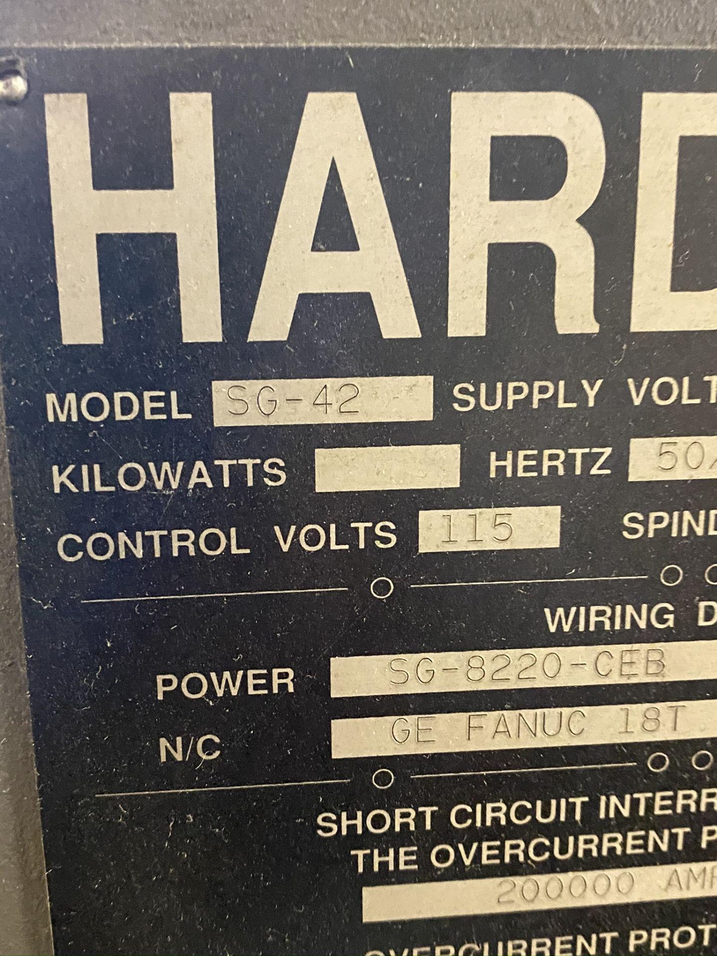 HARDINGE CONQUEST T-42 CNC LATHE, MODEL SG42, FANUC 18-T CNC CONTROL, 12-STATION TURRET, - Image 26 of 27