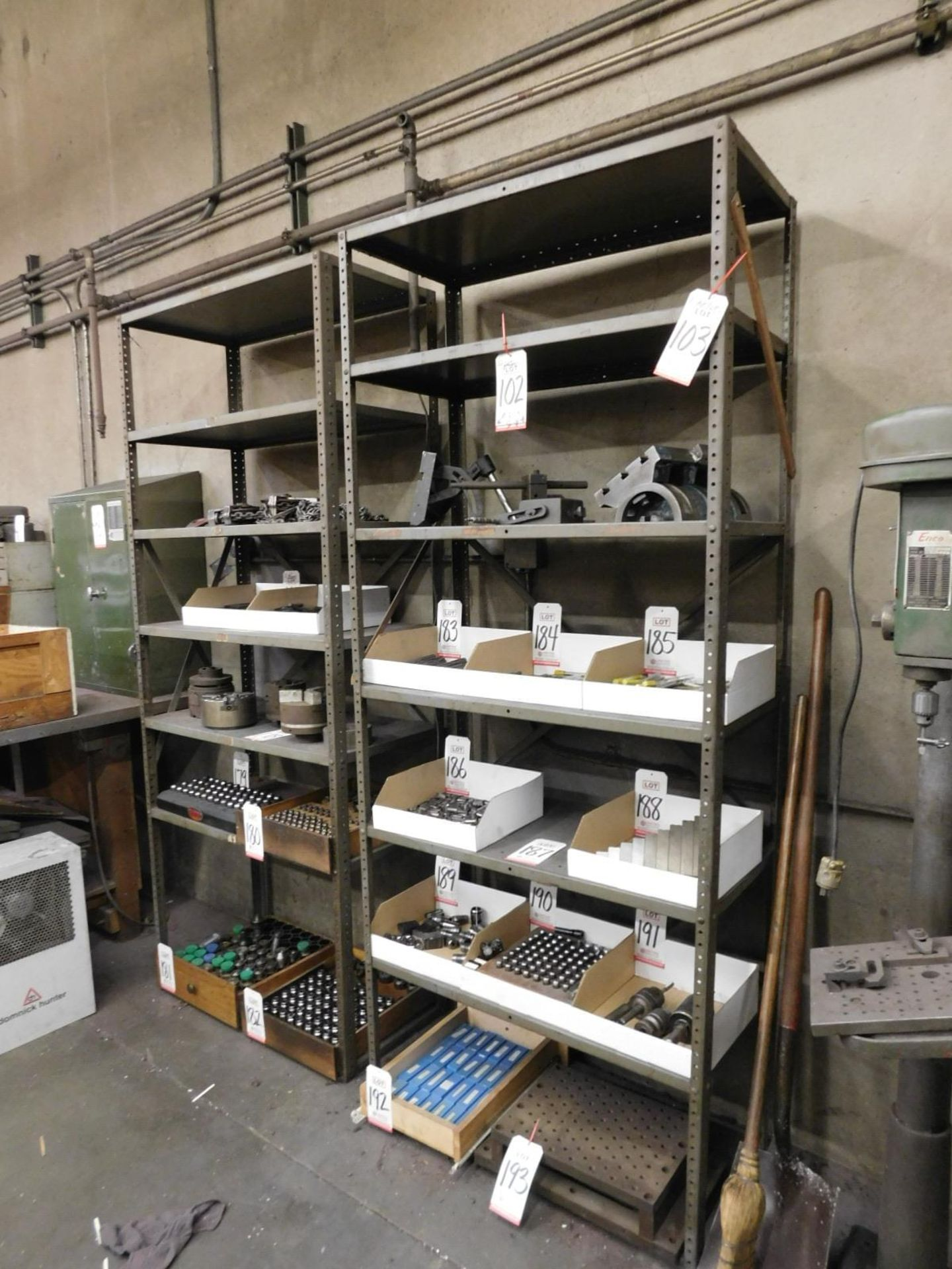 "LOT - (2) STEEL SHELF UNITS, 3' X 18"" X 87"", CONTENTS NOT INCLUDED"