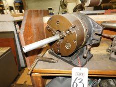 "DUGAS MACHINE WORKS/CUSHMAN CHUCKS 8-1/2"" HORIZONTAL VERTICAL ROTARY TABLE W/ 3-JAW SELF-CENTERING"
