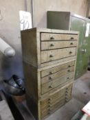 LOT - (3) STACKABLE DRILL INDEX DRAWER BANKS, W/ CONTENTS
