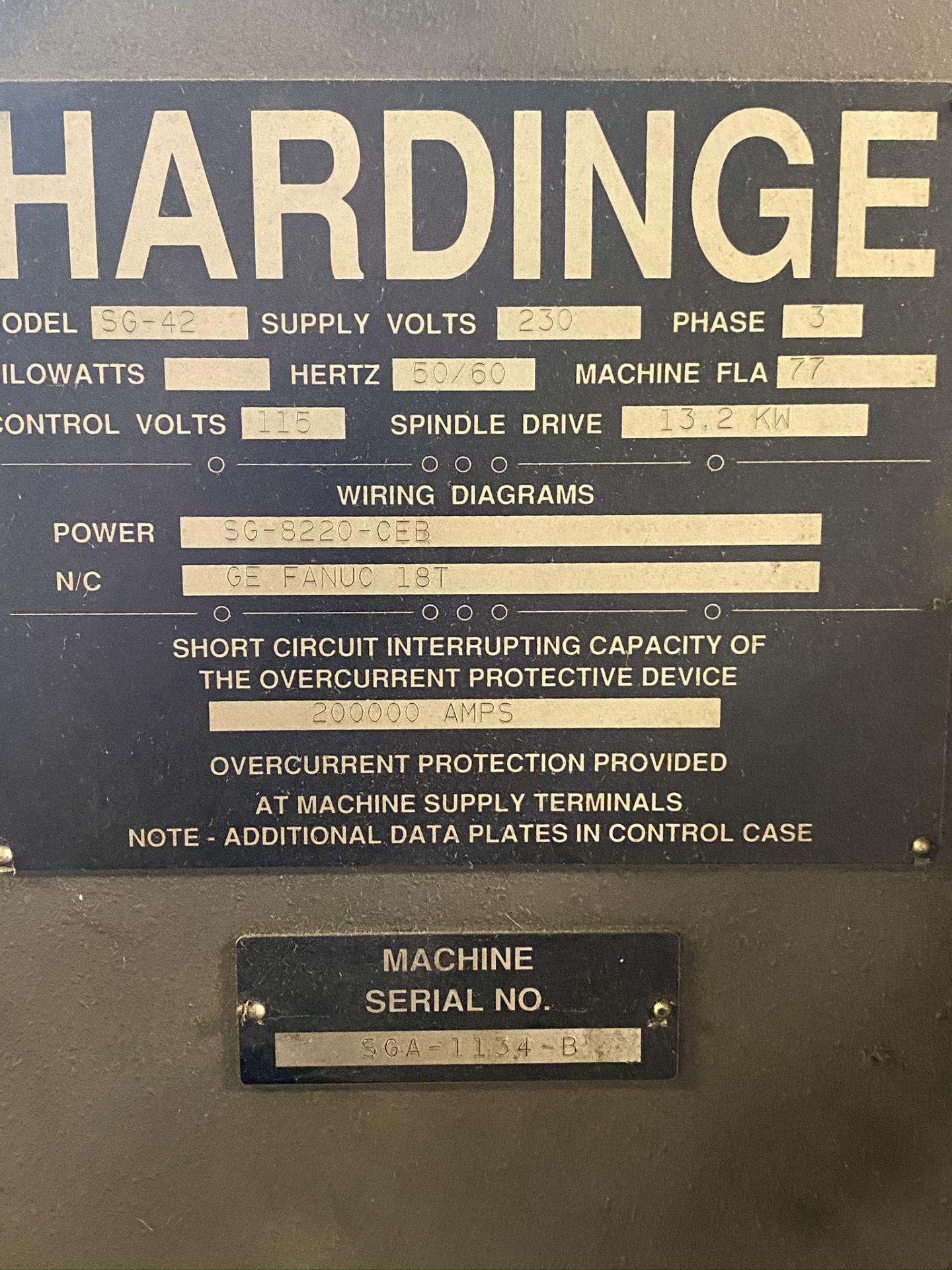 HARDINGE CONQUEST T-42 CNC LATHE, MODEL SG42, FANUC 18-T CNC CONTROL, 12-STATION TURRET, - Image 25 of 27