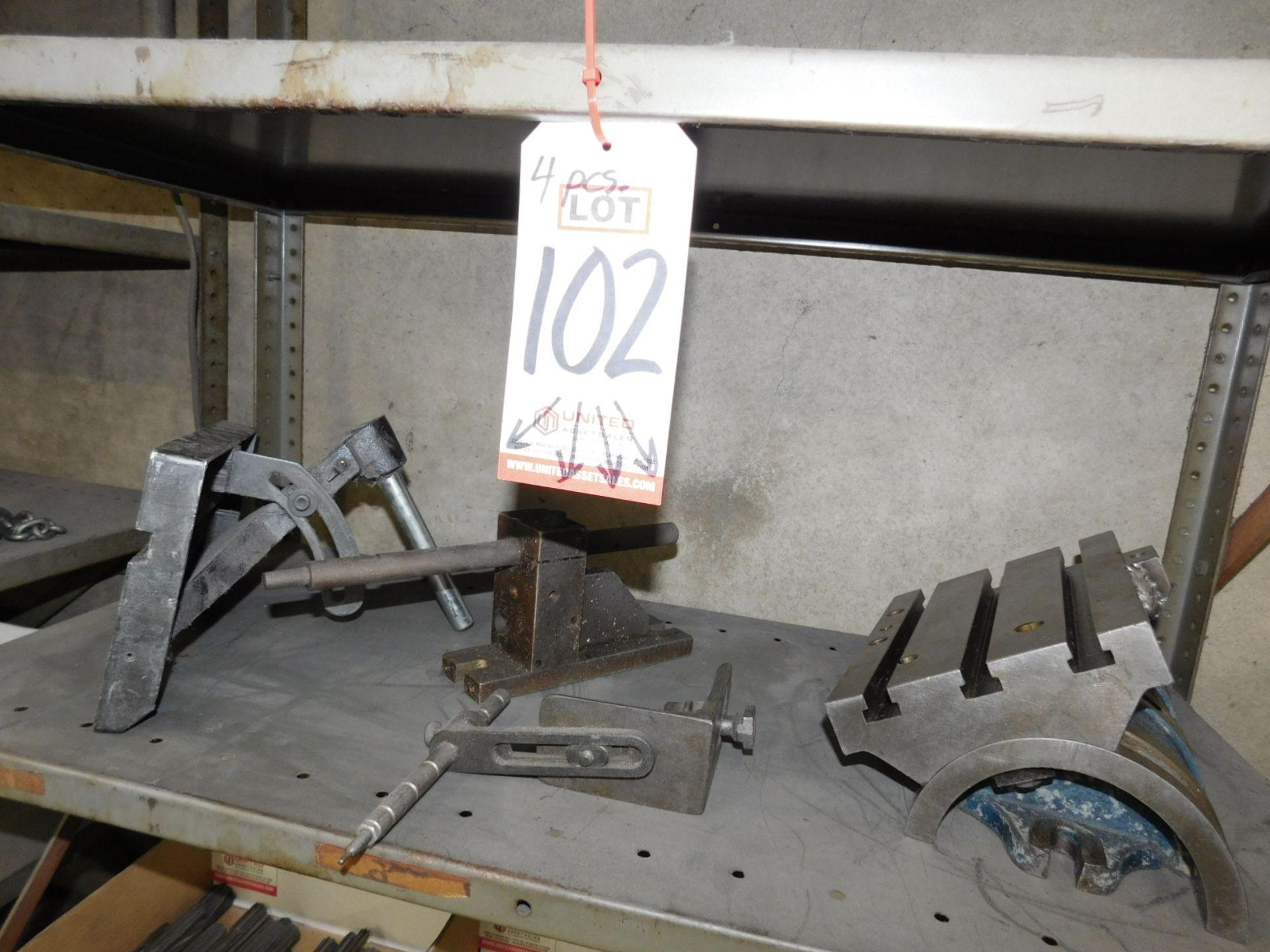"""LOT - (4) FIXTURES INCLUDING A 7"""" X 10"""" TILTING T-SLOT TABLE"""