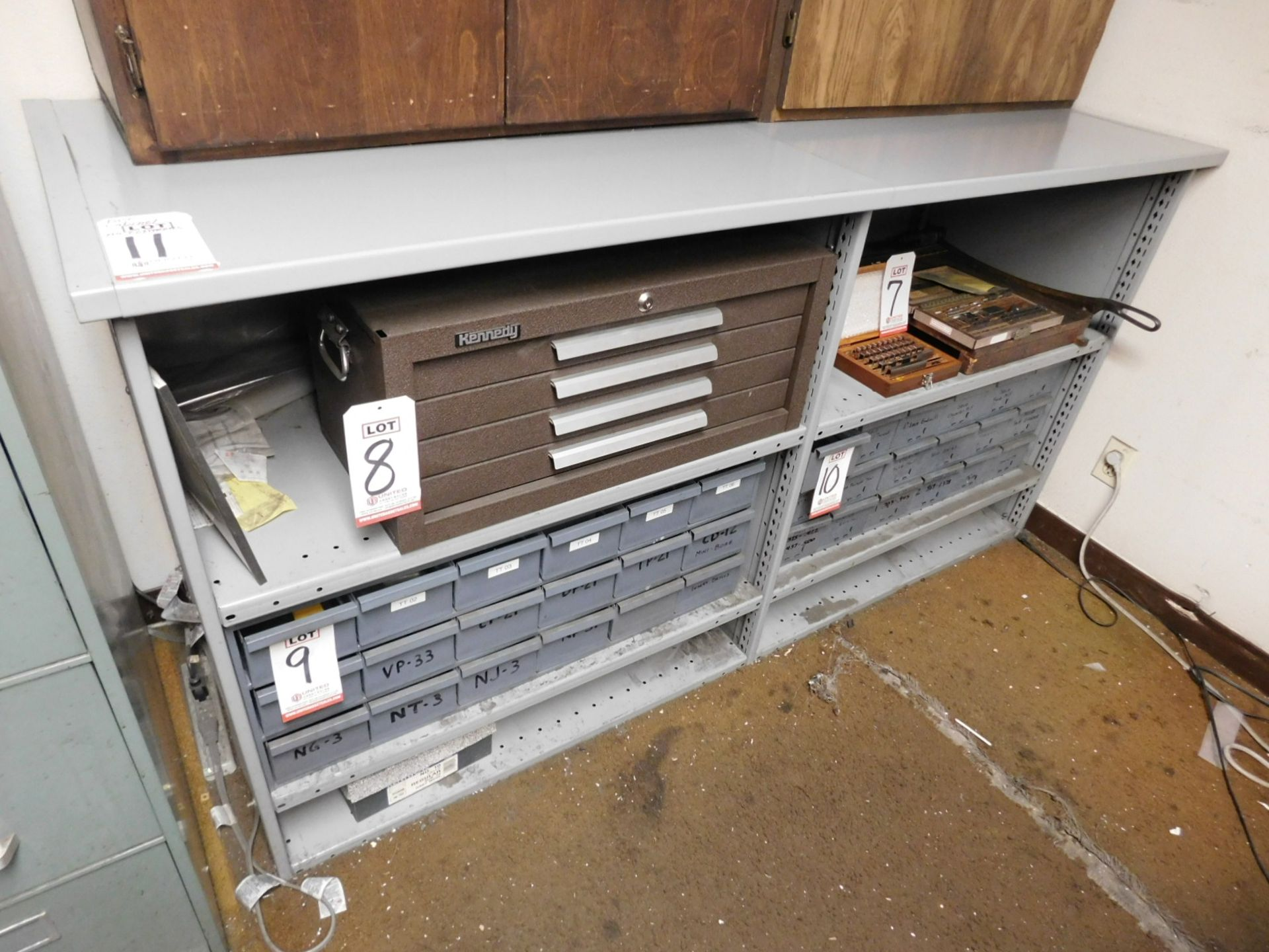 Lot 11 - STEEL BASE CABINET, W/ OPEN SHELVES, CONTENTS NOT INCLUDED