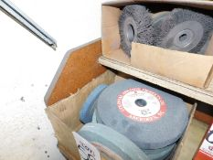 """LOT - BOX OF 10"""" GRINDING WHEELS (10 X 1 X 1-1/4"""") AND WIRE WHEELS"""