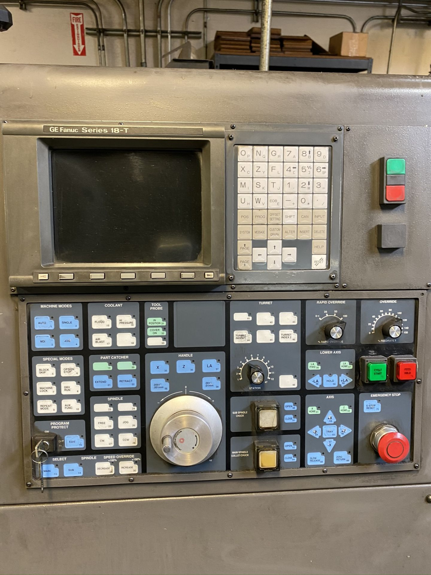 HARDINGE CONQUEST T-42 CNC LATHE, MODEL SG42, FANUC 18-T CNC CONTROL, 12-STATION TURRET, - Image 20 of 27