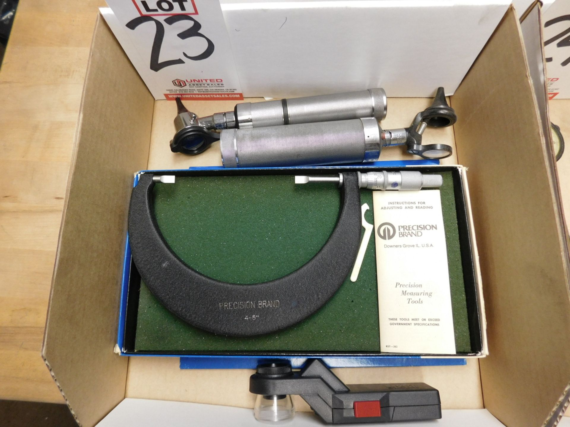 """Lot 23 - LOT - (1) PRECISION BRAND 4""""-5"""" BLADE MIC, (2) WELCH ALLYN OTOSCOPES AND (1) BAUSCH & LOMB LENSCOPE"""