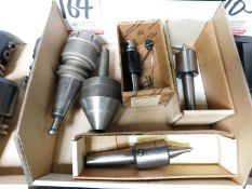 LOT - (1) CAT 40 COLLET CHUCK, (3) LIVE CENTERS AND (1) TAPMATIC NSM4 TAP CHUCK