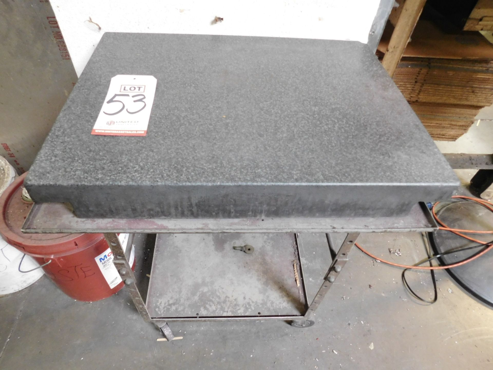"""Lot 53 - GRANITE SURFACE PLATE, 24"""" X 18"""" X 3"""", W/ STAND"""