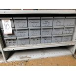 LOT - 18-DRAWER CUBBYHOLE PARTS CABINET, W/ CONTENTS TO INCLUDE: BORING BARS, CUTTING INSERTS, END