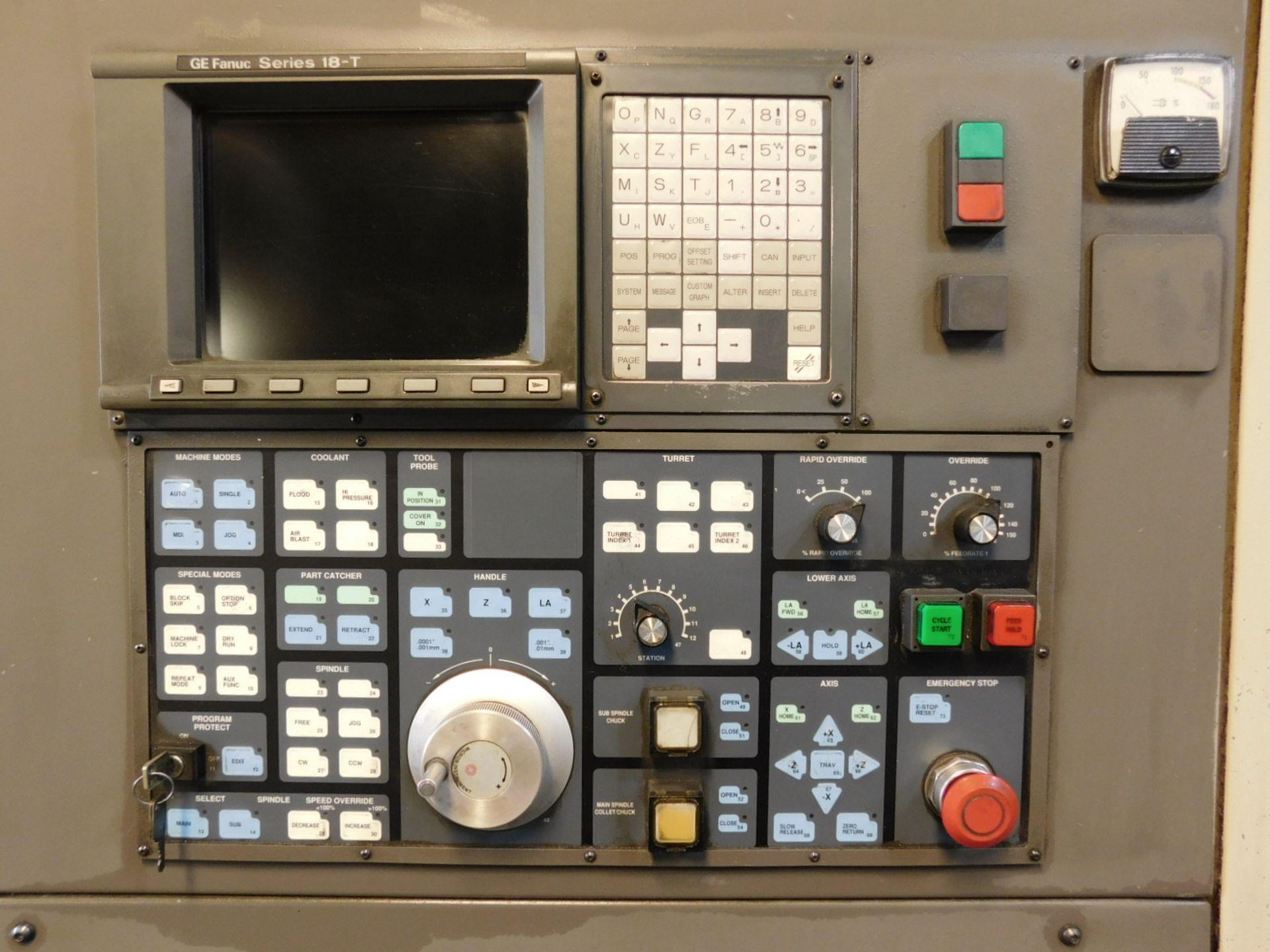 HARDINGE CONQUEST T-42 CNC LATHE, MODEL SG42, FANUC 18-T CNC CONTROL, 12-STATION TURRET, - Image 3 of 27