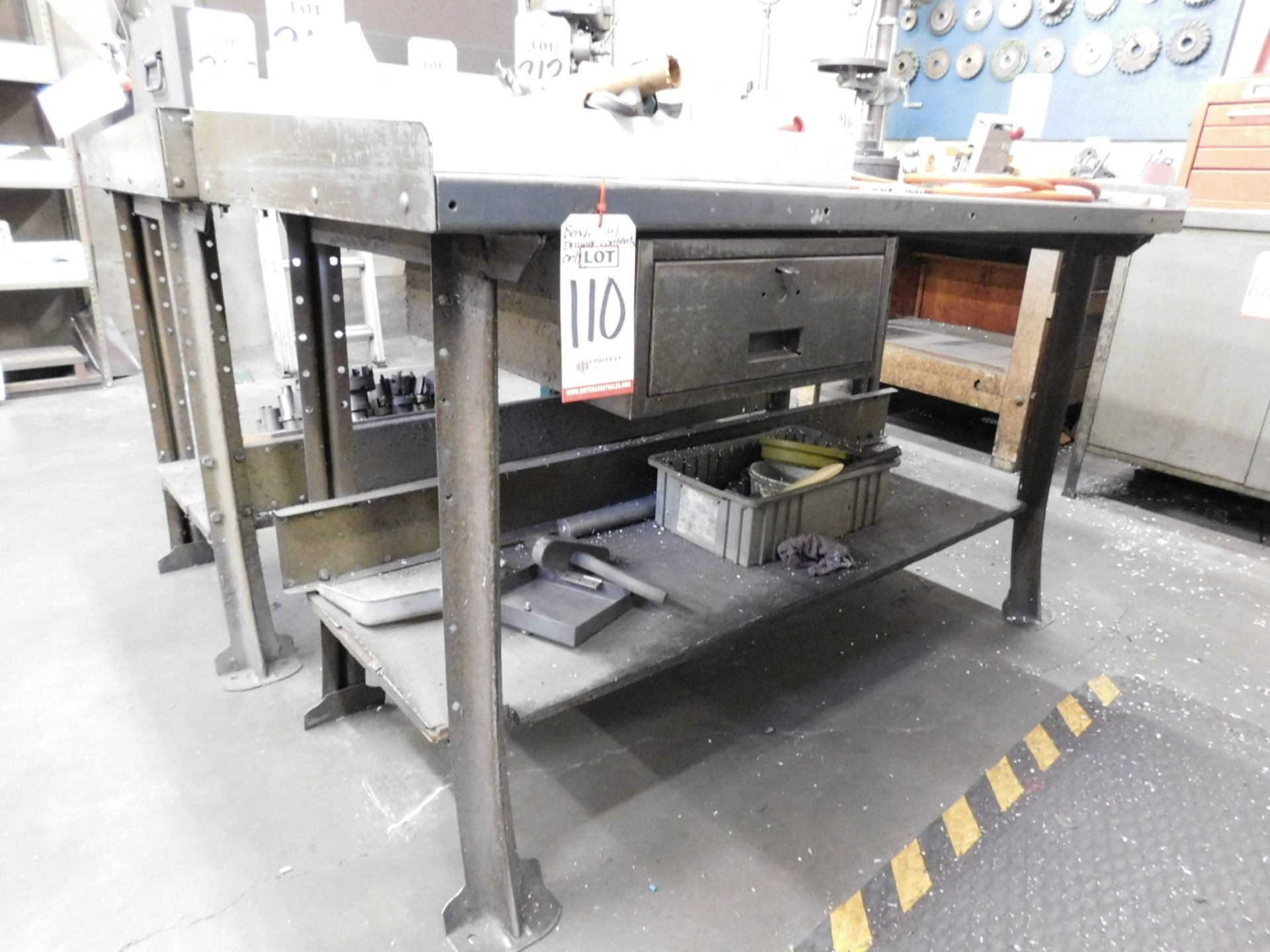 """STEEL WORK BENCH, 5' X 28"""", W/ CONTENTS IN DRAWER ONLY"""