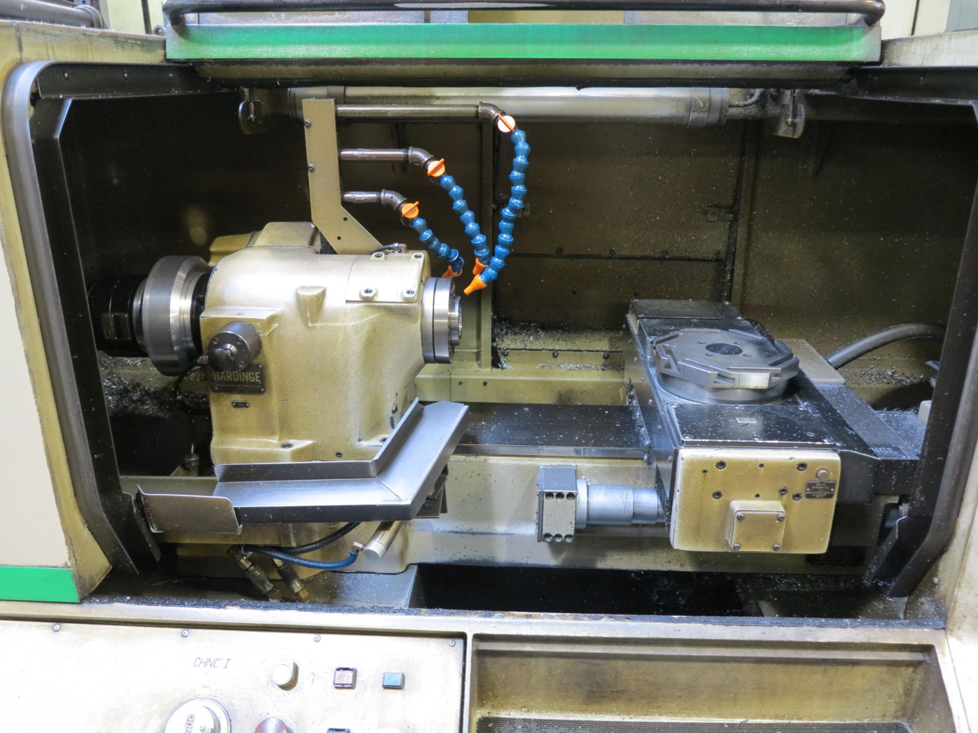 HARDINGE CHNC-I CNC LATHE, GE FANUC OT CNC CONTROL, SPACE TURN BARFEED, S/N CN-4276T - Image 16 of 16