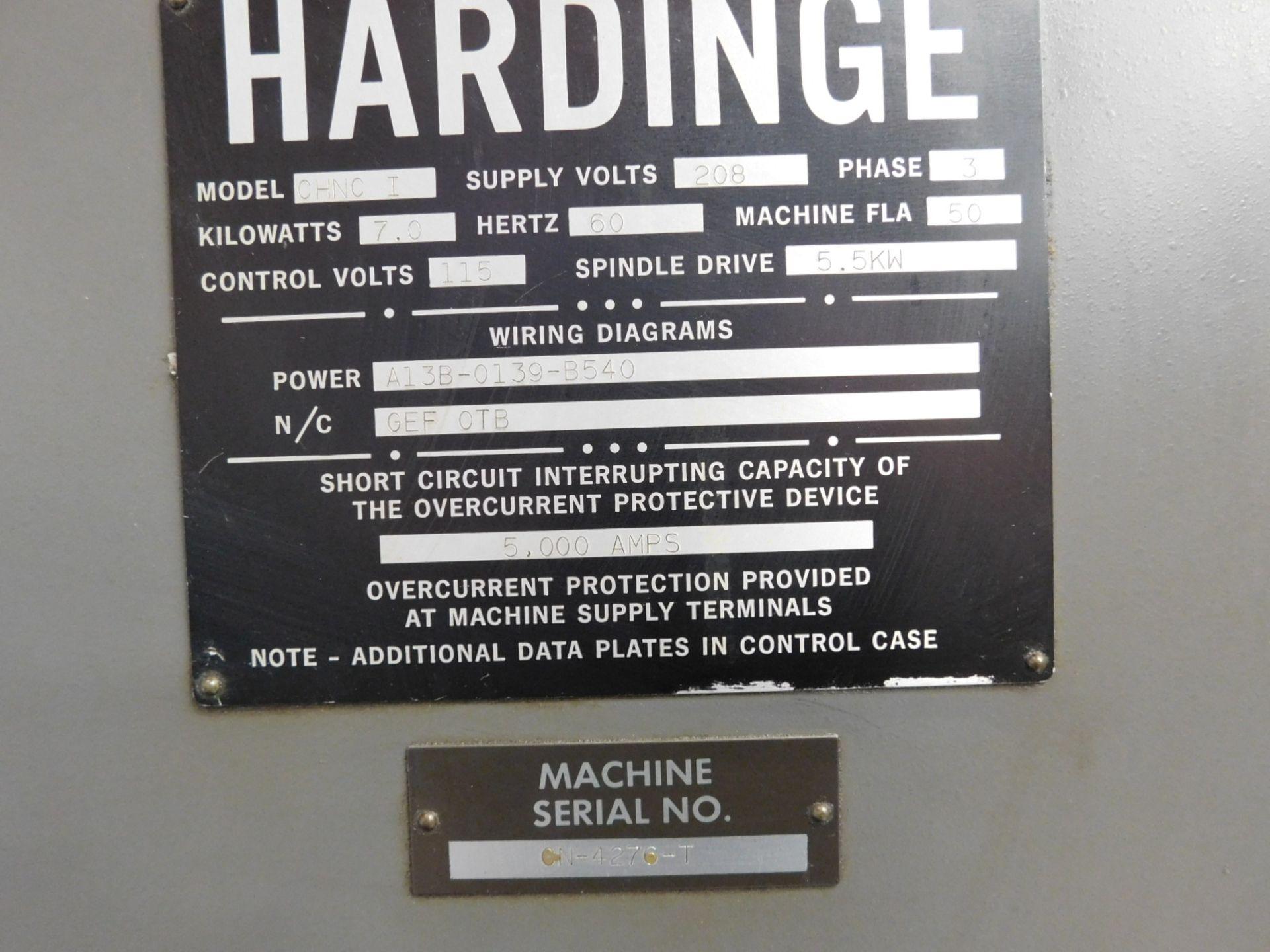HARDINGE CHNC-I CNC LATHE, GE FANUC OT CNC CONTROL, SPACE TURN BARFEED, S/N CN-4276T - Image 8 of 16