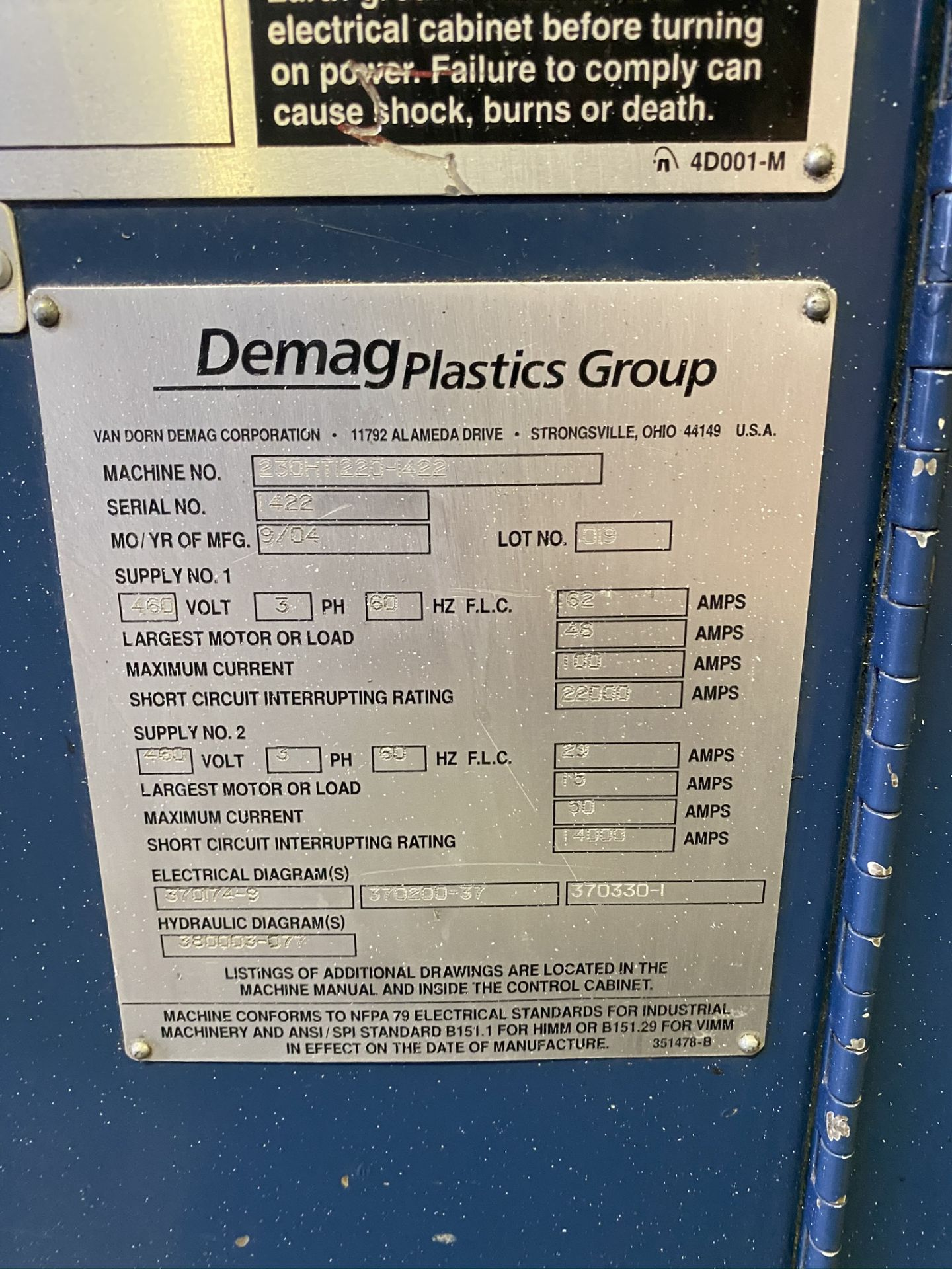 Lot 14 - 2004 VAN DORN DEMAG 230 TON, MODEL 230HT-1220-1422, 25.4 OZ SHOT SIZE