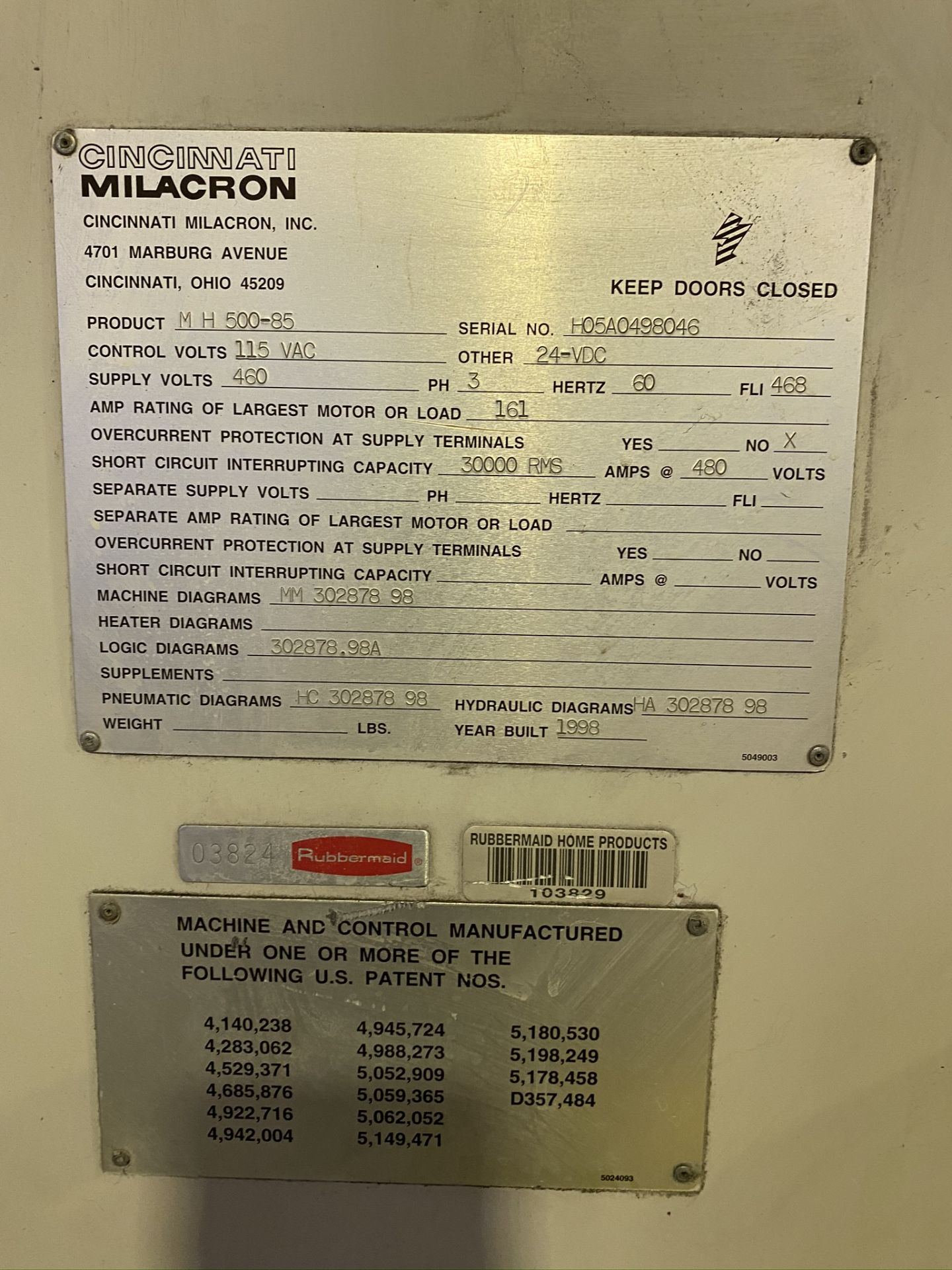Lot 7 - 1998 CINCINNATI MILACRON MAGNA, 500 TON, MODEL MH 500-85, CAMAC 486C CONTROL, 85 OZ SHOT SIZE