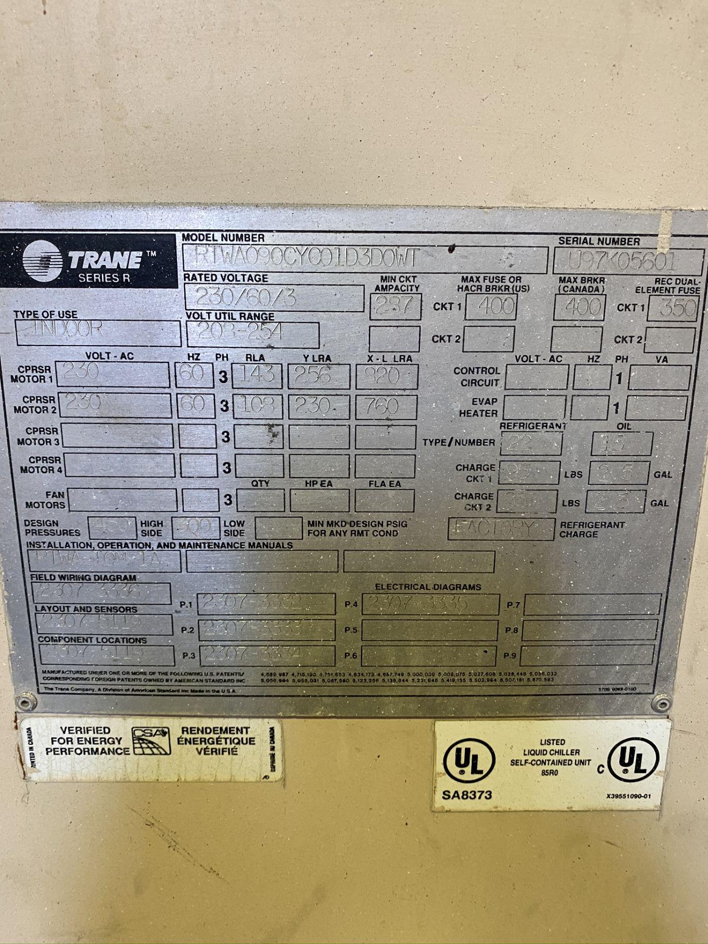 Lot 19 - TRANE SERIES R CHILLER, MODEL RTWA090CYC01D3D0WT