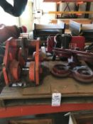 LOT - ASSORTED BALL BEARING TROLLIES AND CM 1 TON ELECTRIC CHAIN HOIST, 3 BUTTON PENDANT