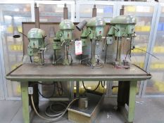 "DELTA 4-HEAD DRILL BANK, 77"" TABLE W/ 4 DELTA MODEL 15-000 HEADS, PLUS WESCO COOLANT PUMP AND TANK"